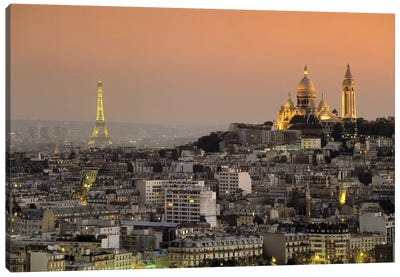 Eiffel Tower Sacred Heart Paris France Canvas Print #PIM2477