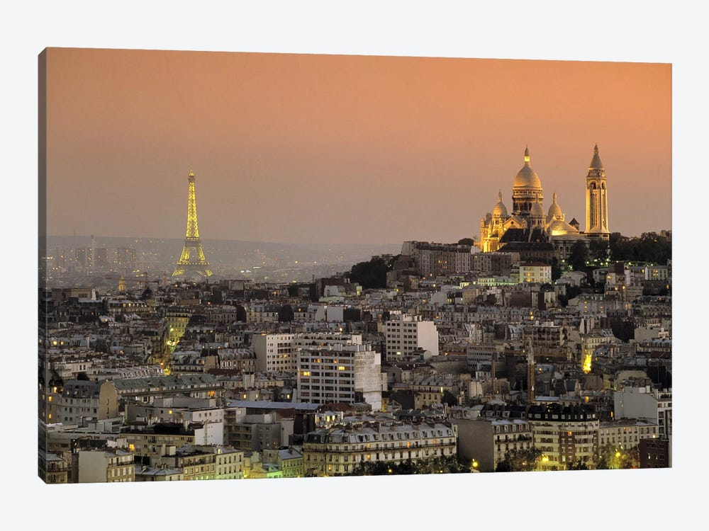 Eiffel Tower Sacred Heart Paris France by Panoramic Images 1-piece Art Print
