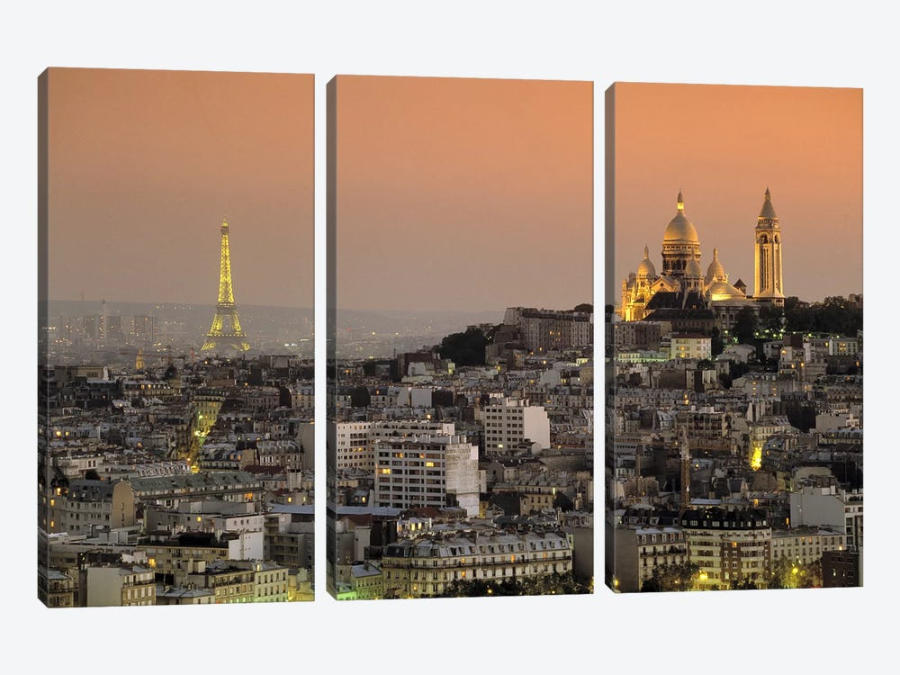Eiffel Tower Sacred Heart Paris France by Panoramic Images 3-piece Canvas Art Print