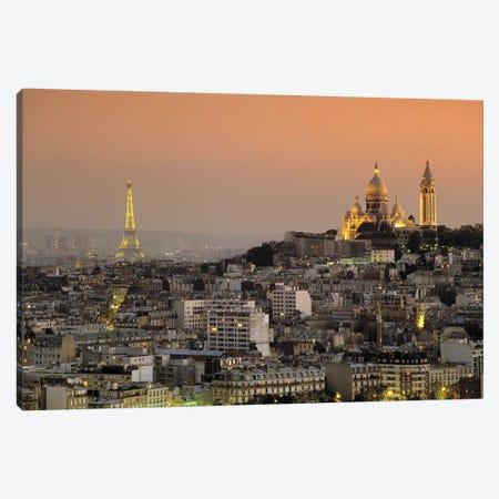 Eiffel Tower Sacred Heart Paris France Canvas Print #PIM2477} by Panoramic Images Art Print
