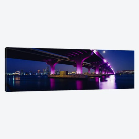 Bridge lit up across a bayMacarthur Causeway, Biscayne Bay, Miami, Florida, USA Canvas Print #PIM2486} by Panoramic Images Canvas Wall Art