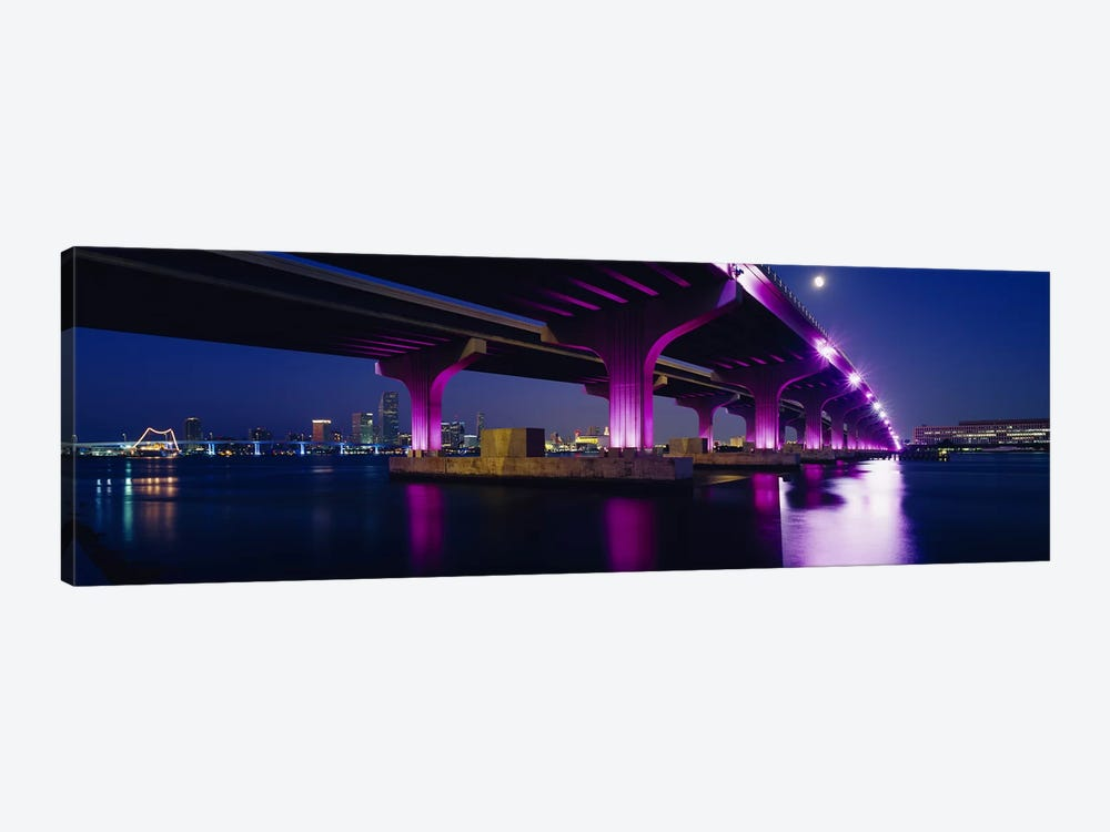 Bridge lit up across a bayMacarthur Causeway, Biscayne Bay, Miami, Florida, USA by Panoramic Images 1-piece Art Print