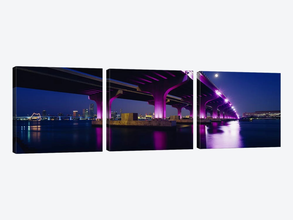 Bridge lit up across a bayMacarthur Causeway, Biscayne Bay, Miami, Florida, USA by Panoramic Images 3-piece Canvas Print
