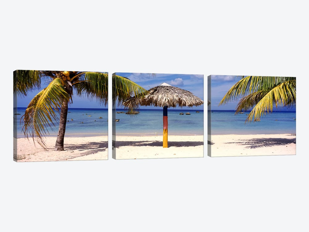 Sunshade on the beach, La Boca, Cuba by Panoramic Images 3-piece Art Print