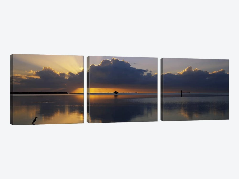 Reflection of clouds in the seaEverglades National Park, near Miami, Florida, USA by Panoramic Images 3-piece Canvas Art