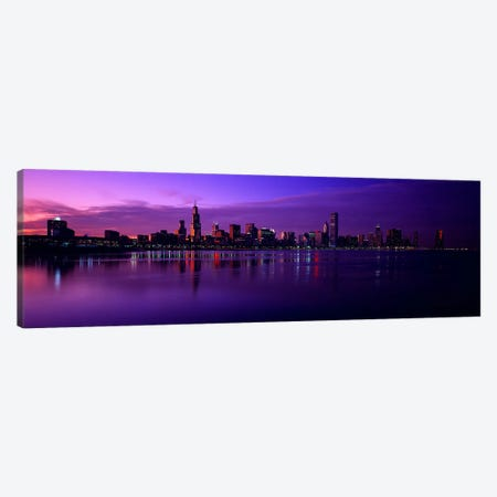 Buildings at the waterfront, lit up at duskSears Tower, Hancock Building, Lake Michigan, Chicago, Cook County, Illinois, USA Canvas Print #PIM2491} by Panoramic Images Canvas Artwork