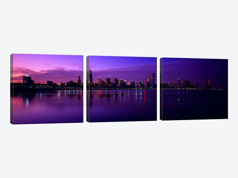 Buildings at the waterfront, lit up at duskSears Tower, Hancock Building, Lake Michigan, Chicago, Cook County, Illinois, USA by Panoramic Images 3-piece Canvas Art Print