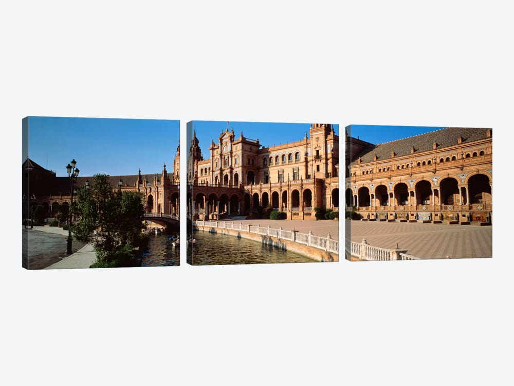 Plaza de Espana And Its Moat, Parque de Maria Luisa, Seville, Andalusia, Spain by Panoramic Images 3-piece Canvas Artwork