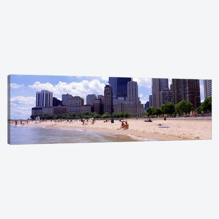 Group of people on the beachOak Street Beach, Chicago, Illinois, USA Canvas Print #PIM2503} by Panoramic Images Canvas Artwork