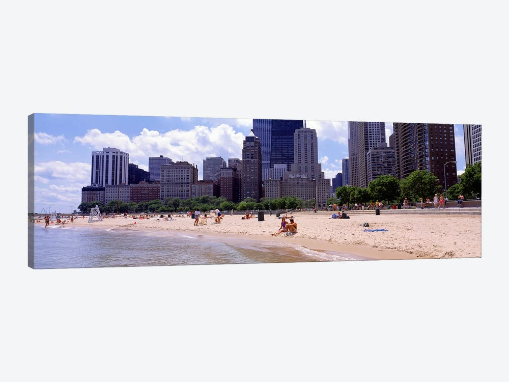 Group of people on the beachOak Street Beach, Chicago, Illinois, USA by Panoramic Images 1-piece Canvas Print