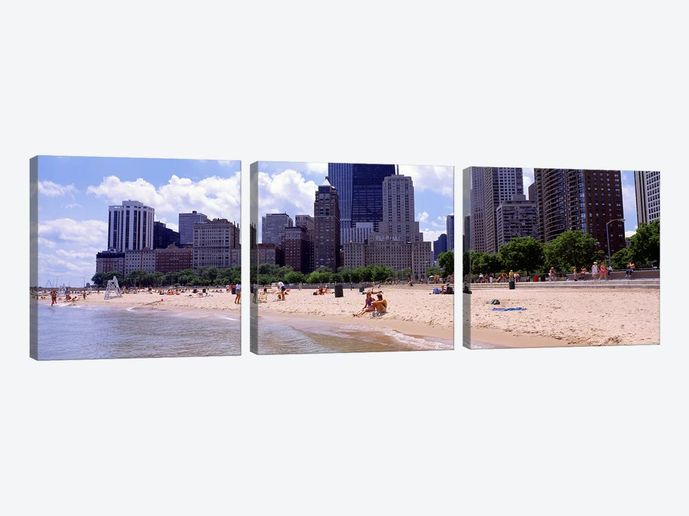 Group of people on the beachOak Street Beach, Chicago, Illinois, USA by Panoramic Images 3-piece Canvas Art Print