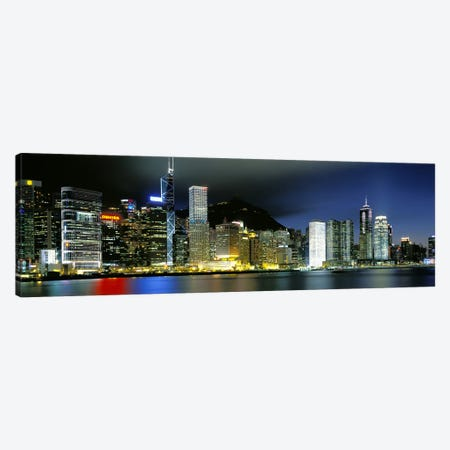Skyline At Night, Central District, Hong Kong Canvas Print #PIM2504} by Panoramic Images Art Print