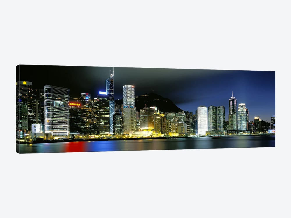 Skyline At Night, Central District, Hong Kong by Panoramic Images 1-piece Canvas Artwork