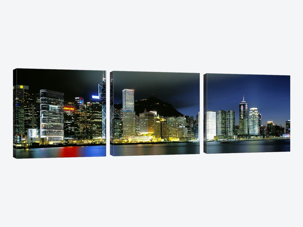 Skyline At Night, Central District, Hong Kong by Panoramic Images 3-piece Canvas Artwork