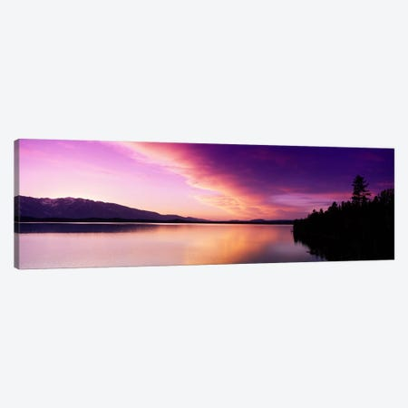 Sunset Jackson Lake Grand Teton National Park WY USA 3-Piece Canvas #PIM2505} by Panoramic Images Canvas Print