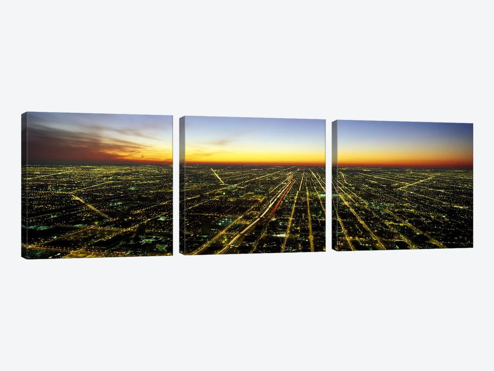 Evening Chicago IL by Panoramic Images 3-piece Canvas Art