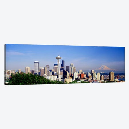 Skyscrapers in a city with a mountain in the background, Mt Rainier, Mt Rainier National Park, Space Needle, Seattle, Washington State, USA Canvas Print #PIM2509} by Panoramic Images Canvas Artwork