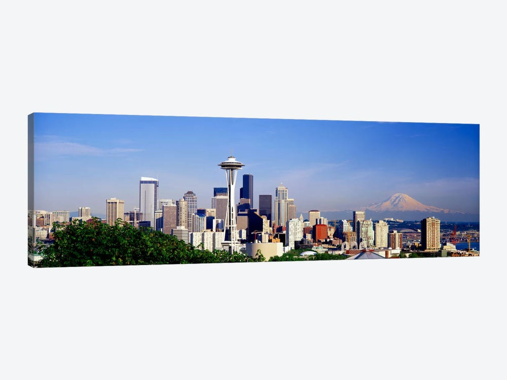 Skyscrapers in a city with a mountain in the background, Mt Rainier, Mt Rainier National Park, Space Needle, Seattle, Washington by Panoramic Images 1-piece Canvas Art Print