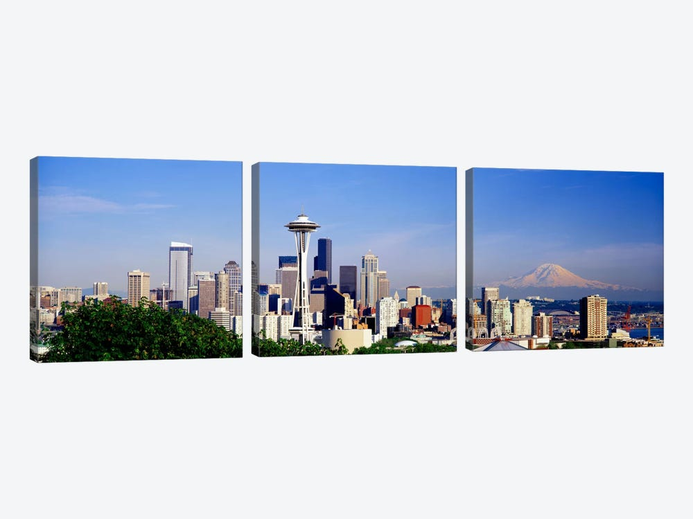 Skyscrapers in a city with a mountain in the background, Mt Rainier, Mt Rainier National Park, Space Needle, Seattle, Washington by Panoramic Images 3-piece Canvas Print