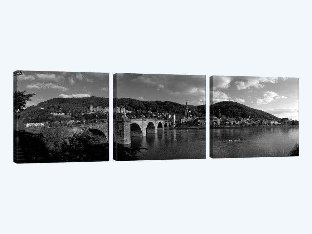 Bridge Heidelberg, Germany (black & white) by Panoramic Images 3-piece Canvas Wall Art