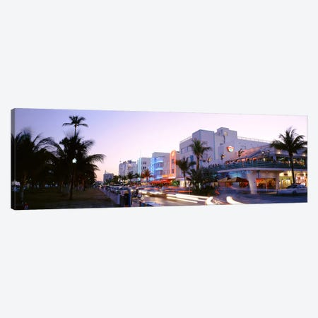 Buildings Lit Up At Dusk, Ocean Drive, Miami, Florida, USA Canvas Print #PIM2512} by Panoramic Images Art Print