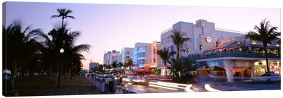 Buildings Lit Up At Dusk, Ocean Drive, Miami, Florida, USA Canvas Art Print