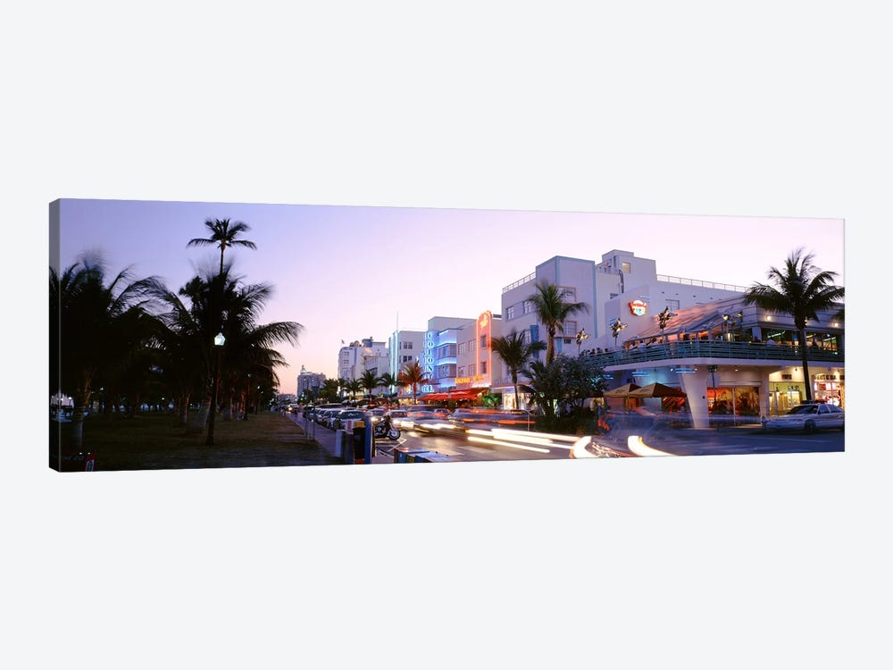 Buildings Lit Up At Dusk, Ocean Drive, Miami, Florida, USA by Panoramic Images 1-piece Art Print