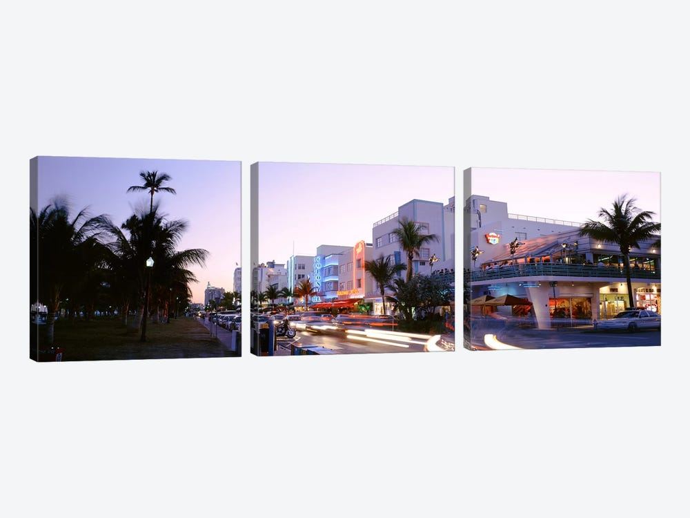 Buildings Lit Up At Dusk, Ocean Drive, Miami, Florida, USA by Panoramic Images 3-piece Canvas Art Print