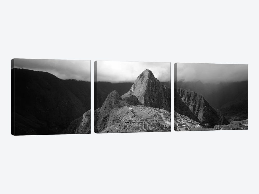 Ruins, Machu Picchu, Peru (black & white) by Panoramic Images 3-piece Canvas Art Print