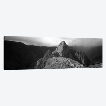 Ruins, Machu Picchu, Peru (black & white) 3-Piece Canvas #PIM251bw} by Panoramic Images Canvas Artwork