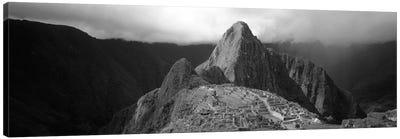Ruins, Machu Picchu, Peru (black & white) Canvas Art Print