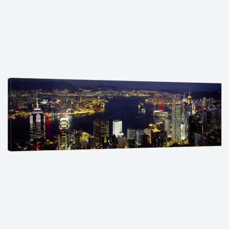 Victoria Harbour & Surrounding Districts At Night, Hong Kong Canvas Print #PIM2524} by Panoramic Images Art Print