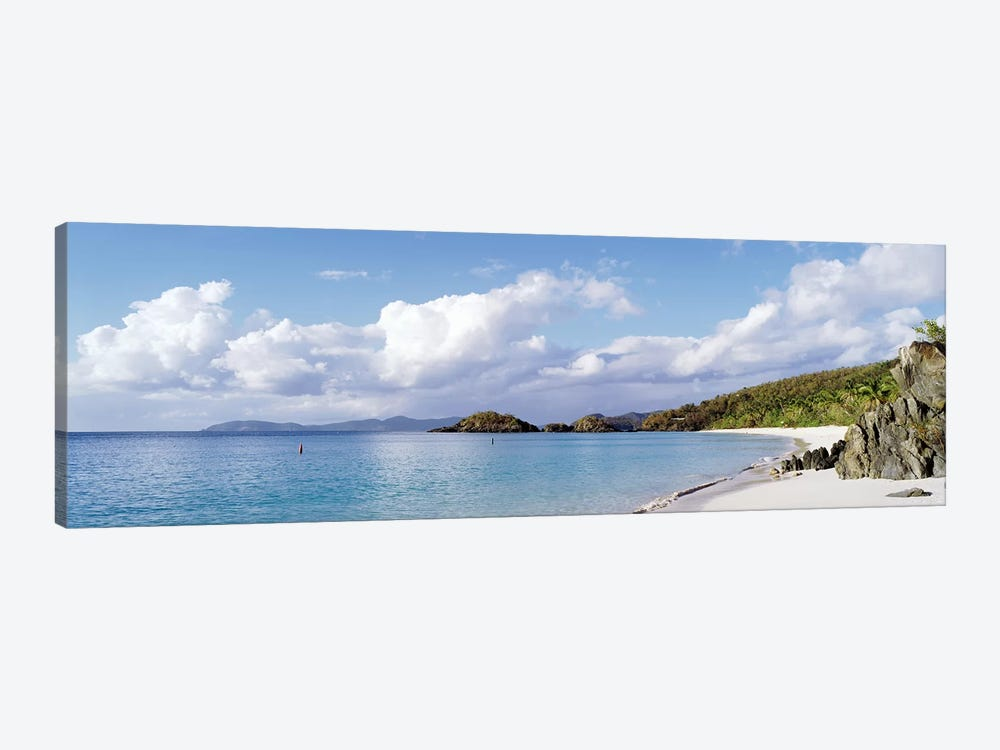 Cloudy Coastal Landscape, Trunk Bay, Saint John, US Virgin Islands by Panoramic Images 1-piece Canvas Artwork