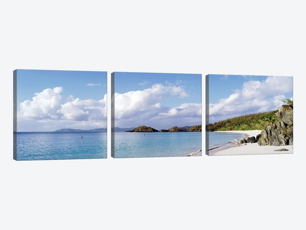 Cloudy Coastal Landscape, Trunk Bay, Saint John, US Virgin Islands by Panoramic Images 3-piece Canvas Artwork