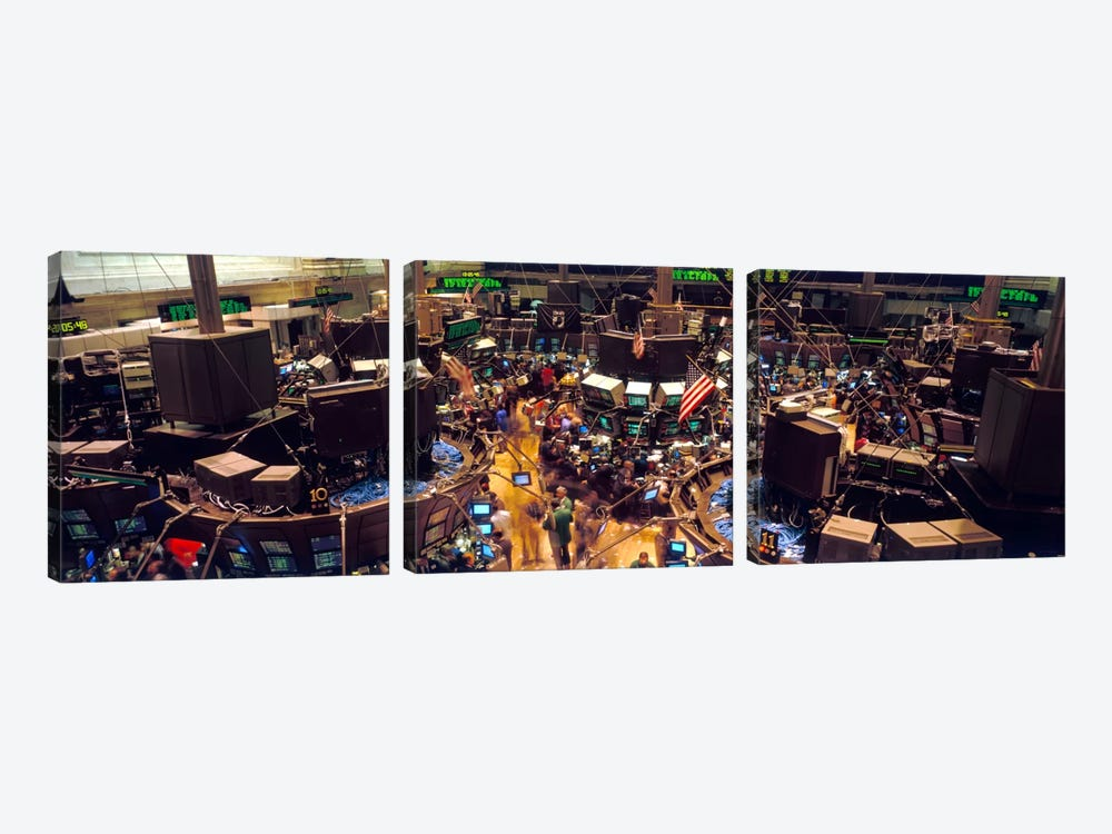 Trading Floor, NYSE, New York City, New York, USA by Panoramic Images 3-piece Canvas Artwork