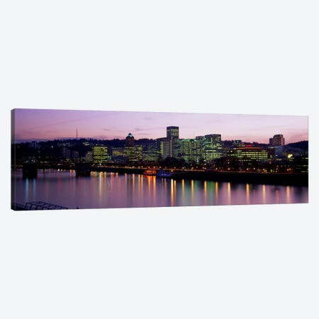 Buildings lit up at night, Portland, Oregon, USA Canvas Print #PIM2532} by Panoramic Images Art Print