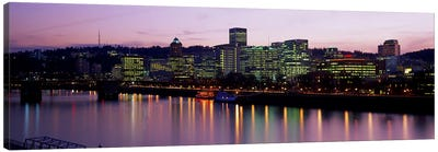 Buildings lit up at night, Portland, Oregon, USA Canvas Art Print