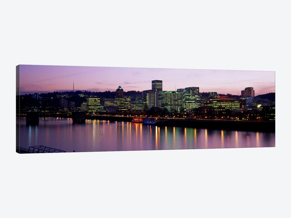 Buildings lit up at night, Portland, Oregon, USA by Panoramic Images 1-piece Canvas Art Print