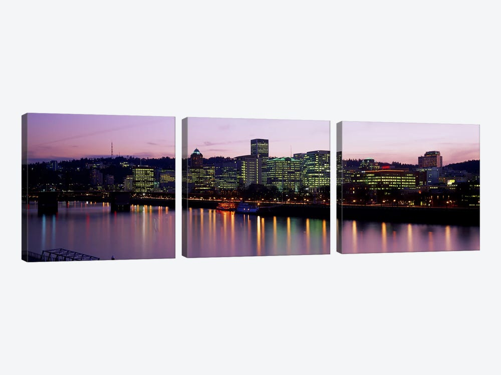 Buildings lit up at night, Portland, Oregon, USA by Panoramic Images 3-piece Art Print
