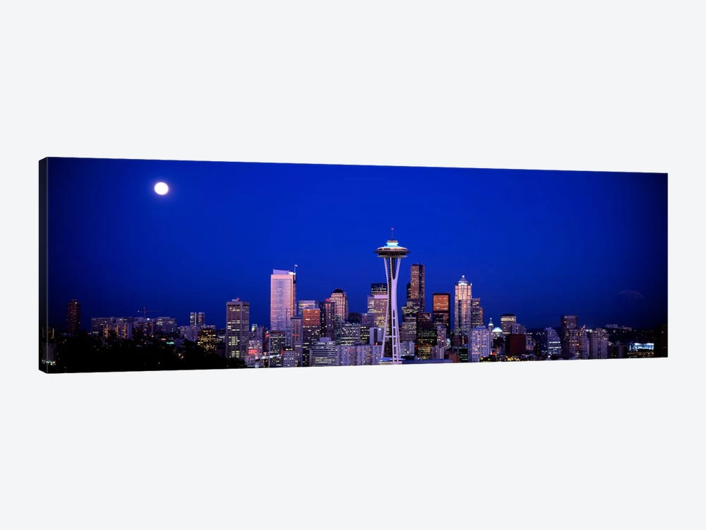 Moonrise, Seattle, Washington State, USA 1-piece Canvas Art