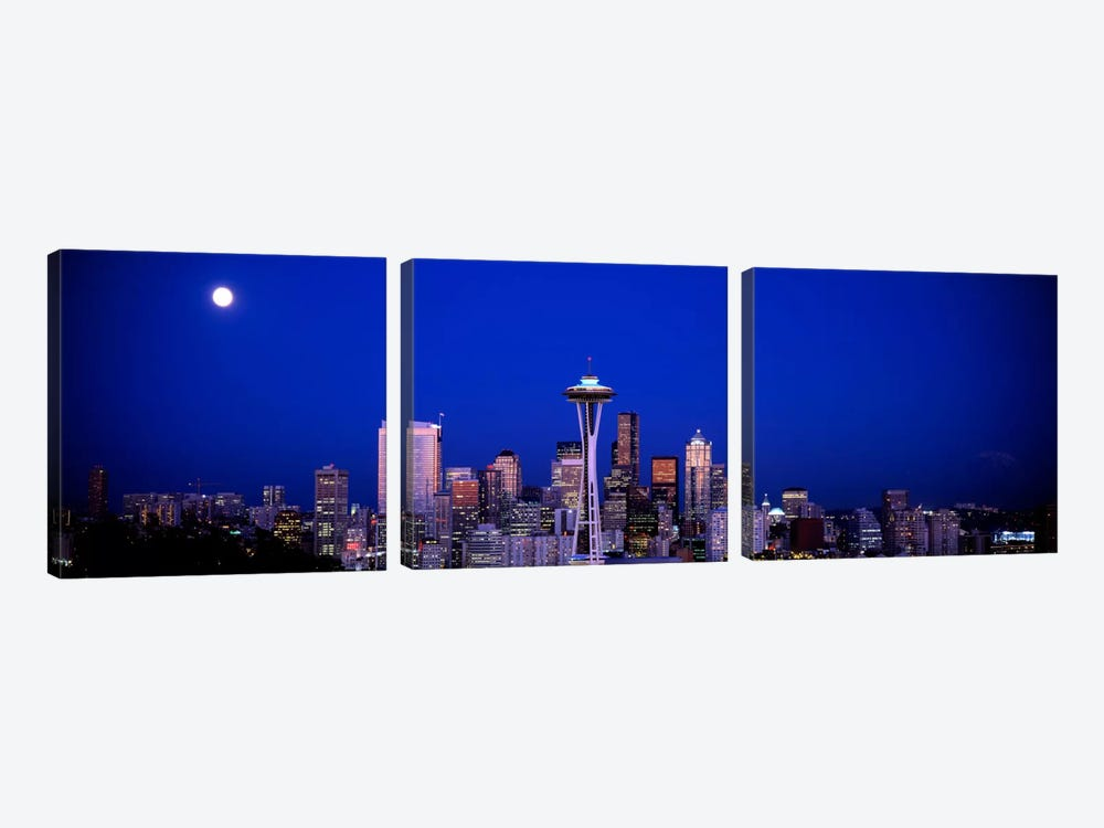 Moonrise, Seattle, Washington State, USA by Panoramic Images 3-piece Canvas Artwork