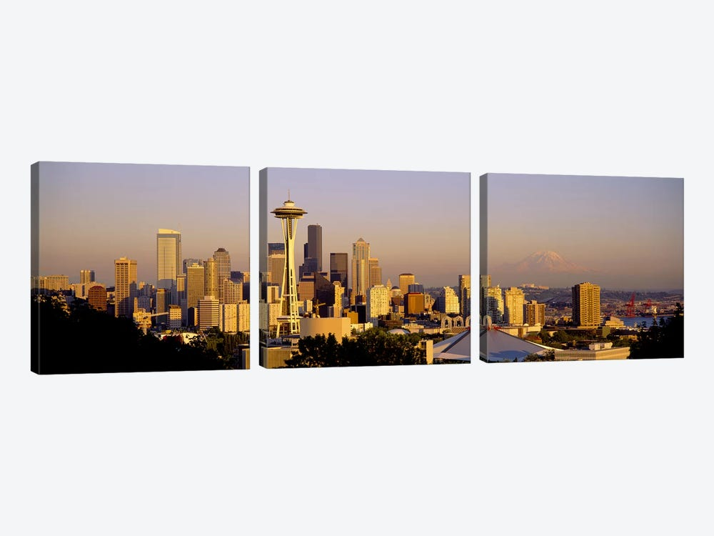 High angle view of buildings in a citySeattle, Washington State, USA by Panoramic Images 3-piece Canvas Art Print