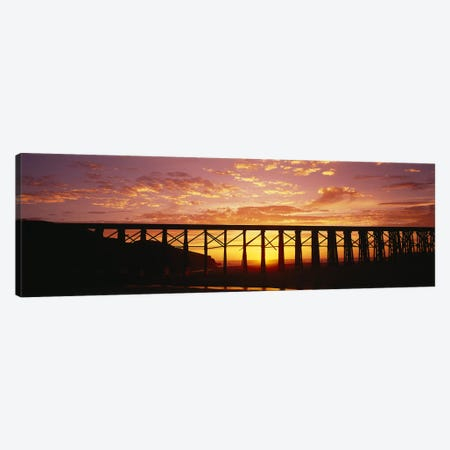 Silhouette of a railway bridge, Pudding Creek Bridge, Fort Bragg, California, USA Canvas Print #PIM2542} by Panoramic Images Canvas Artwork