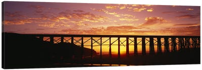 Silhouette of a railway bridge, Pudding Creek Bridge, Fort Bragg, California, USA Canvas Art Print