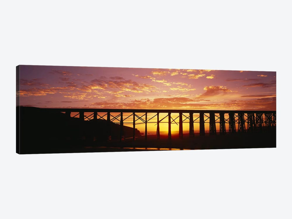 Silhouette of a railway bridge, Pudding Creek Bridge, Fort Bragg, California, USA by Panoramic Images 1-piece Canvas Wall Art