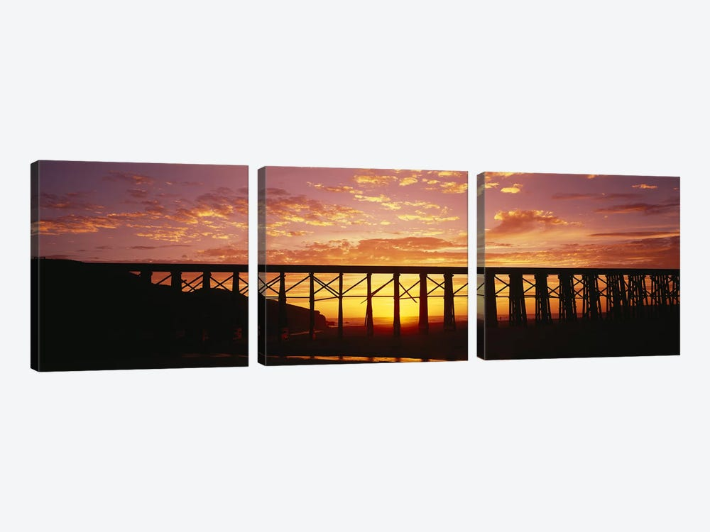 Silhouette of a railway bridge, Pudding Creek Bridge, Fort Bragg, California, USA by Panoramic Images 3-piece Canvas Artwork