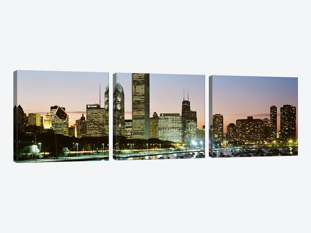 Buildings lit up at night, Chicago, Cook County, Illinois, USA by Panoramic Images 3-piece Canvas Art Print