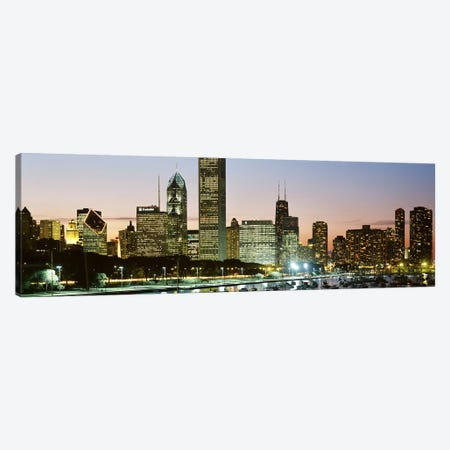 Buildings lit up at night, Chicago, Cook County, Illinois, USA Canvas Print #PIM2547} by Panoramic Images Canvas Print