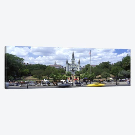 Cathedral at the roadside, St. Louis Cathedral, Jackson Square, French Quarter, New Orleans, Louisiana, USA Canvas Print #PIM2552} by Panoramic Images Art Print
