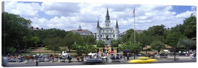 Cathedral at the roadside, St. Louis Cathedral, Jackson Square, French Quarter, New Orleans, Louisiana, USA Canvas Art Print